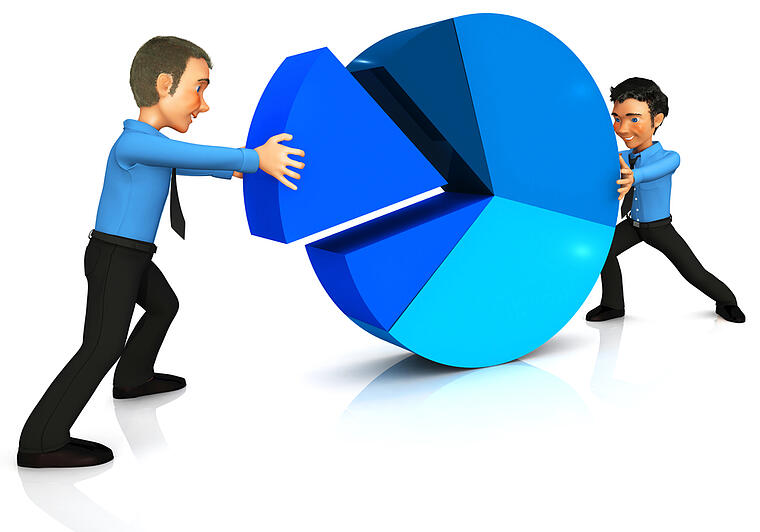 two cartoon businessmen with a pie chart