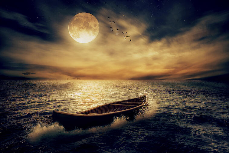 row boat on the ocean with full moon