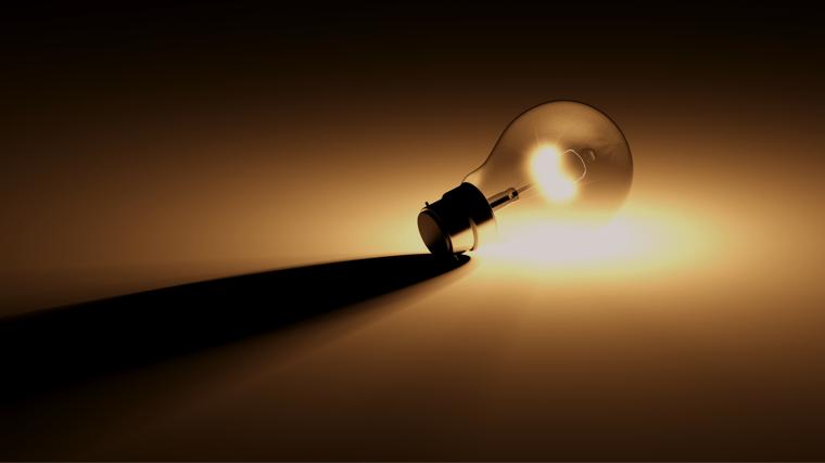 light bulb turned on laying sideways