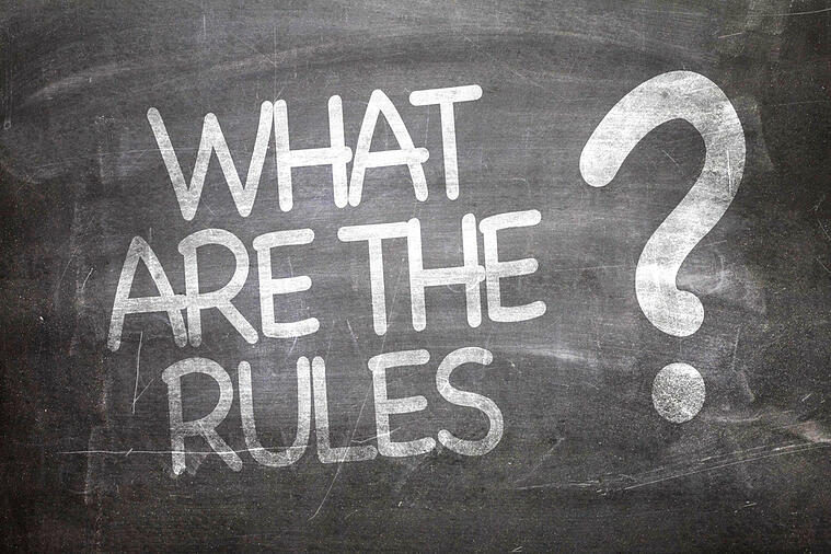 """chalkboard with writing """"what are the rules?"""""""
