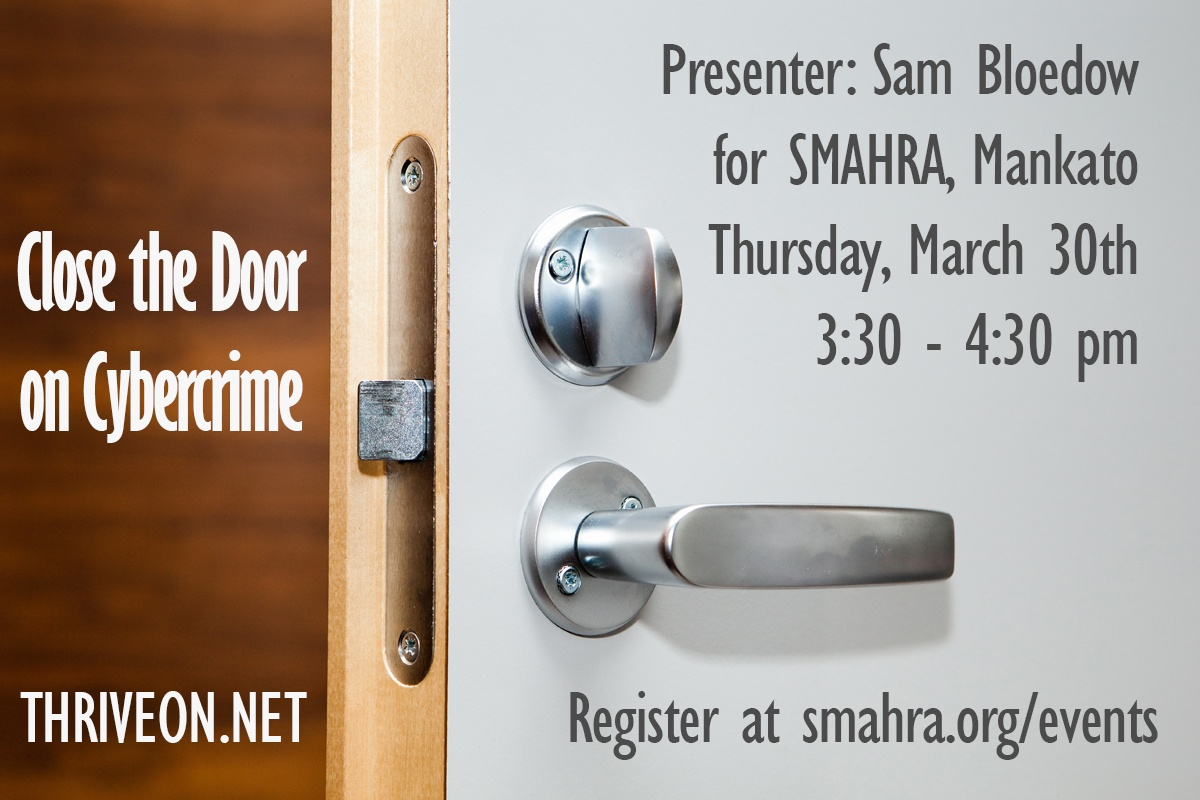 Sam Bloedow to Speak to SMAHRA About Cybersecurity
