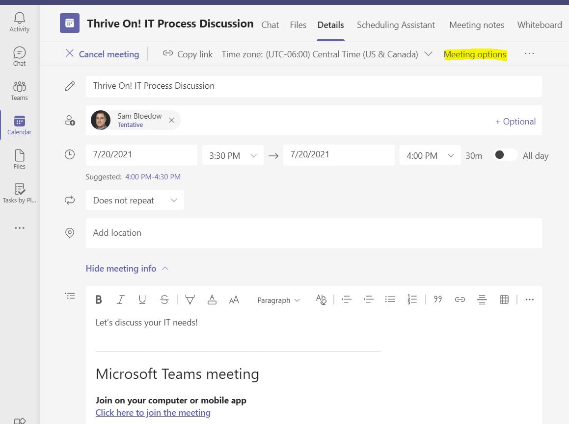 Screen shot of meeting details in Microsoft Teams