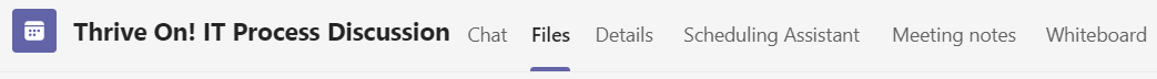 Screen shot of collaboration tool bar in Microsoft Teams meeting with Files highlighted