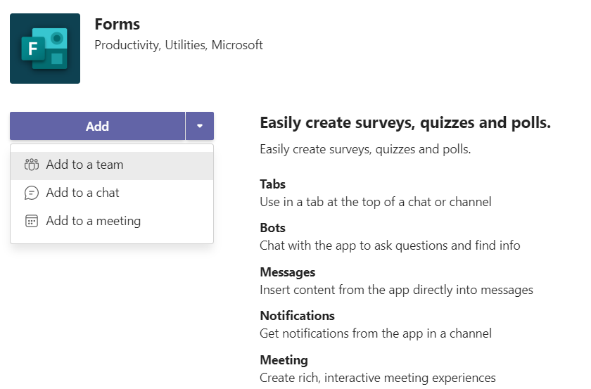 Screen shot of how to add Microsoft Forms to a team, chat or meeting
